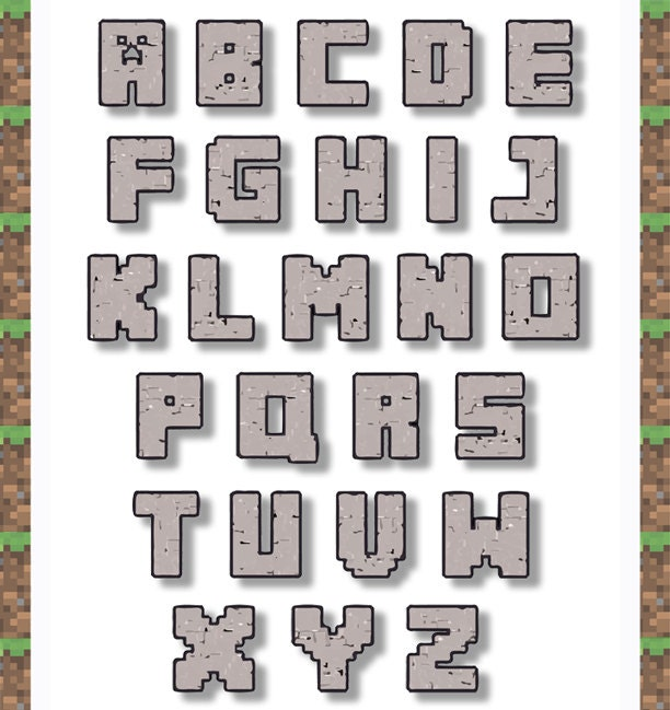 Decisive image with free printable minecraft letters