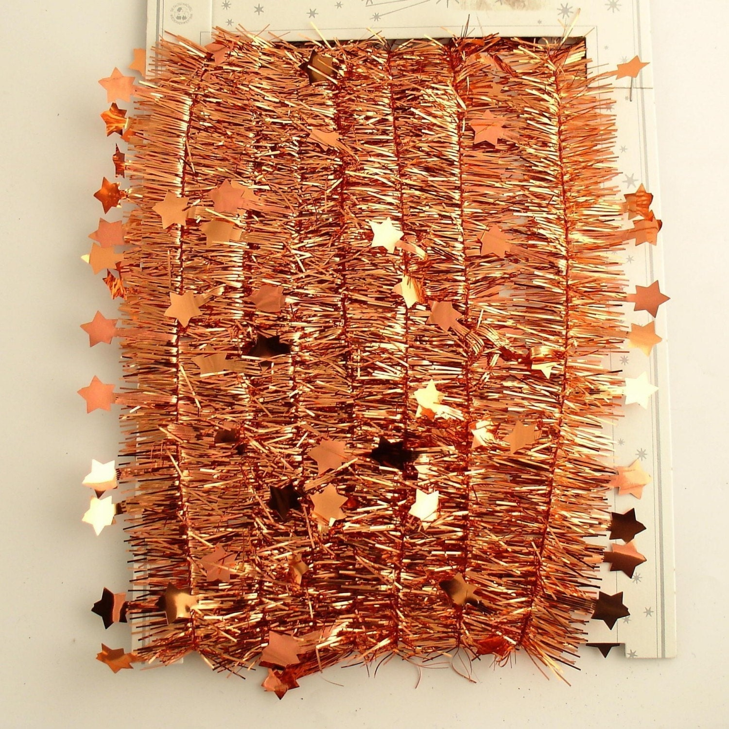 Coppery orange tinsel with stars vintage style by efinegifts