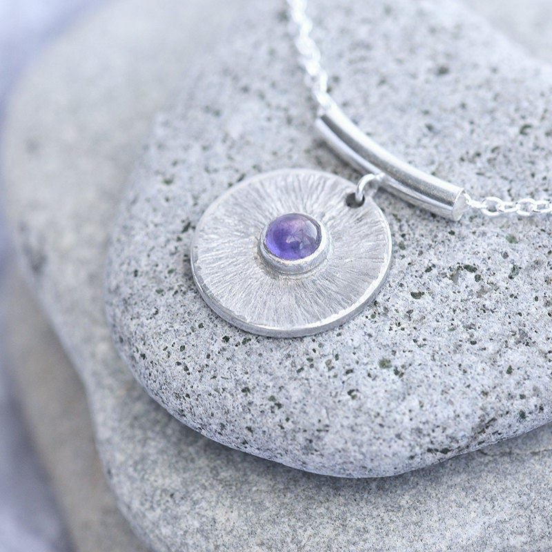 Amethyst Silver Disc Pendant Hammered Silver Disc Pendant Amethyst Disc Necklace Round Purple February Birthstone Pendant Made To Order