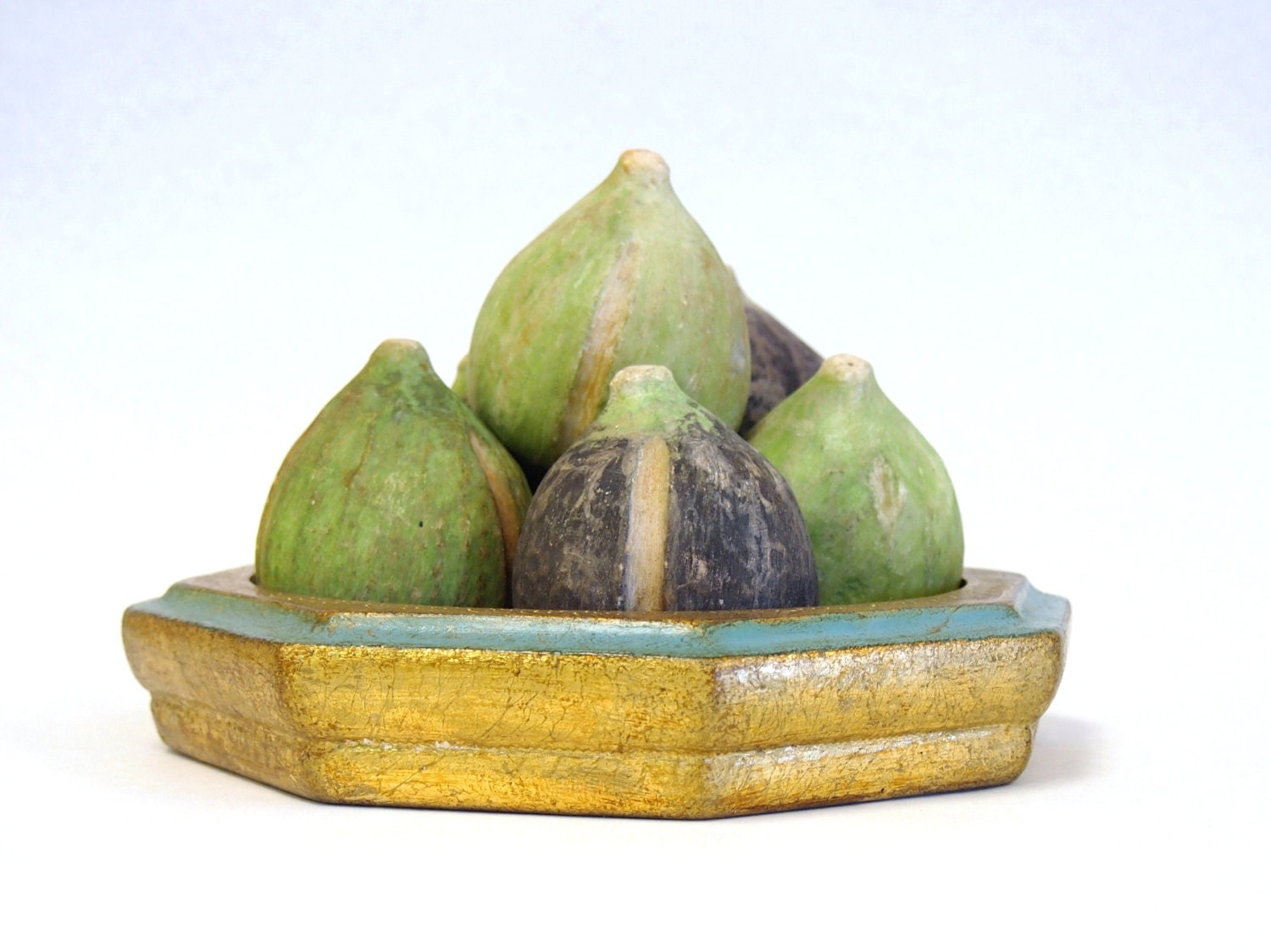 Rare Set of 6 Antique ITALIAN Alabaster Stone Fruit FIGS in Purple and Green Natural RUSTIC HandCarved Pieces - VivaEstelle