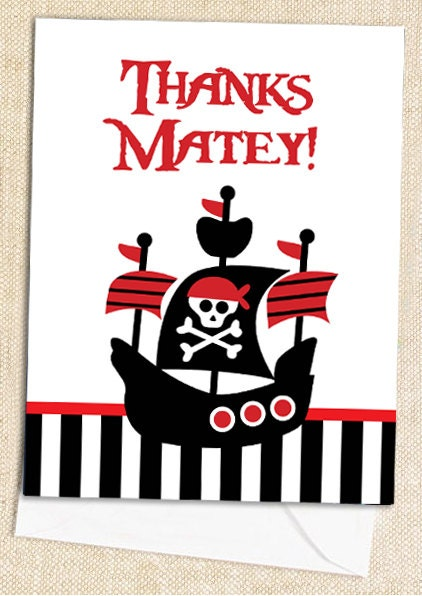 PIRATE Thank You Cards - set of 12 - polkaprints