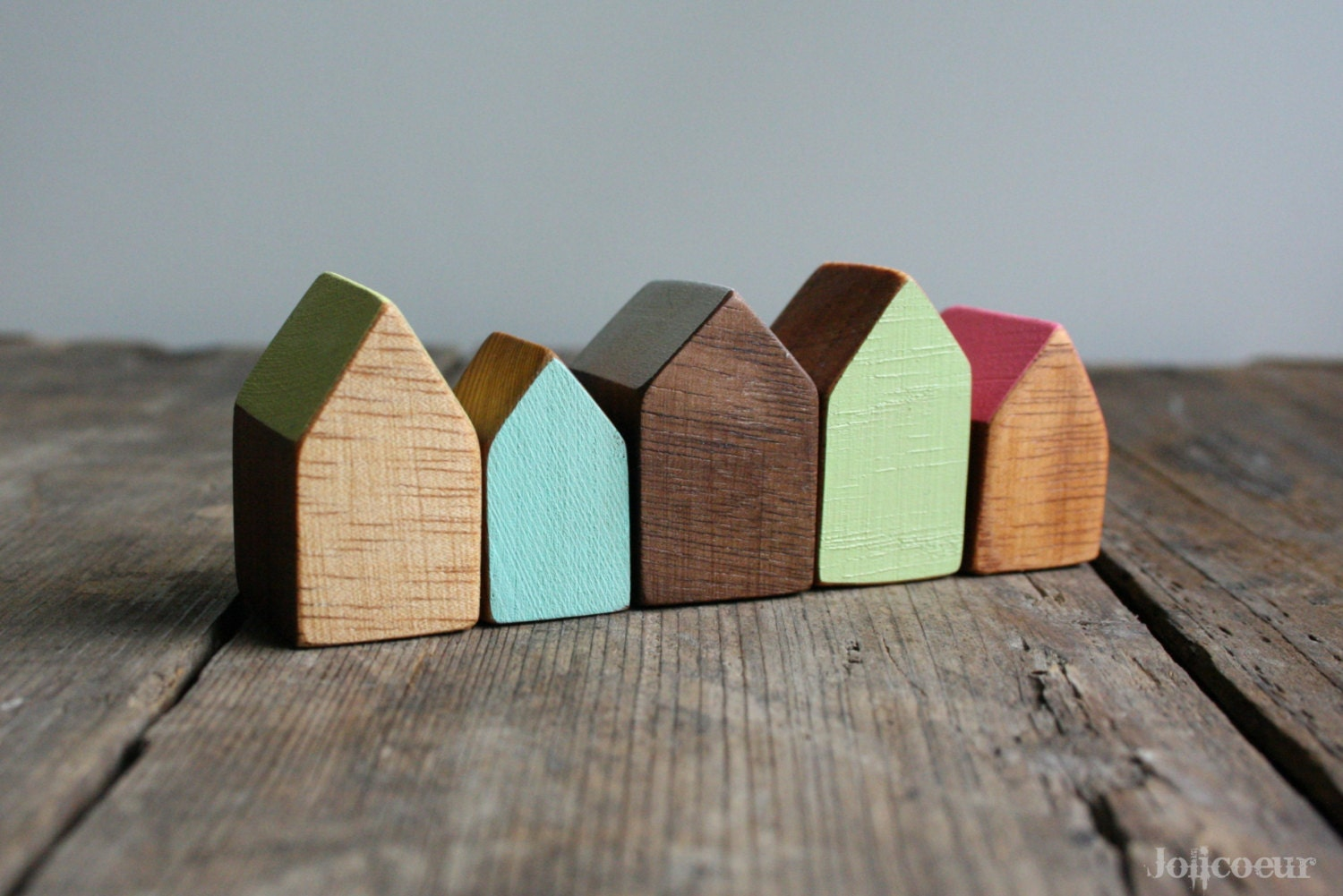 Miniature wooden house hand painted wood house by for Mini wooden house