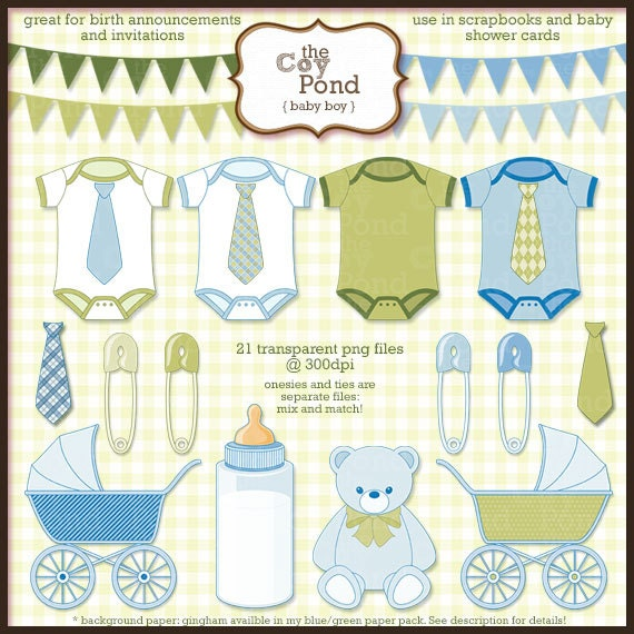 INSTANT DOWNLOAD Baby Boy Clip Art -- clipart, blue, green, bunting ...