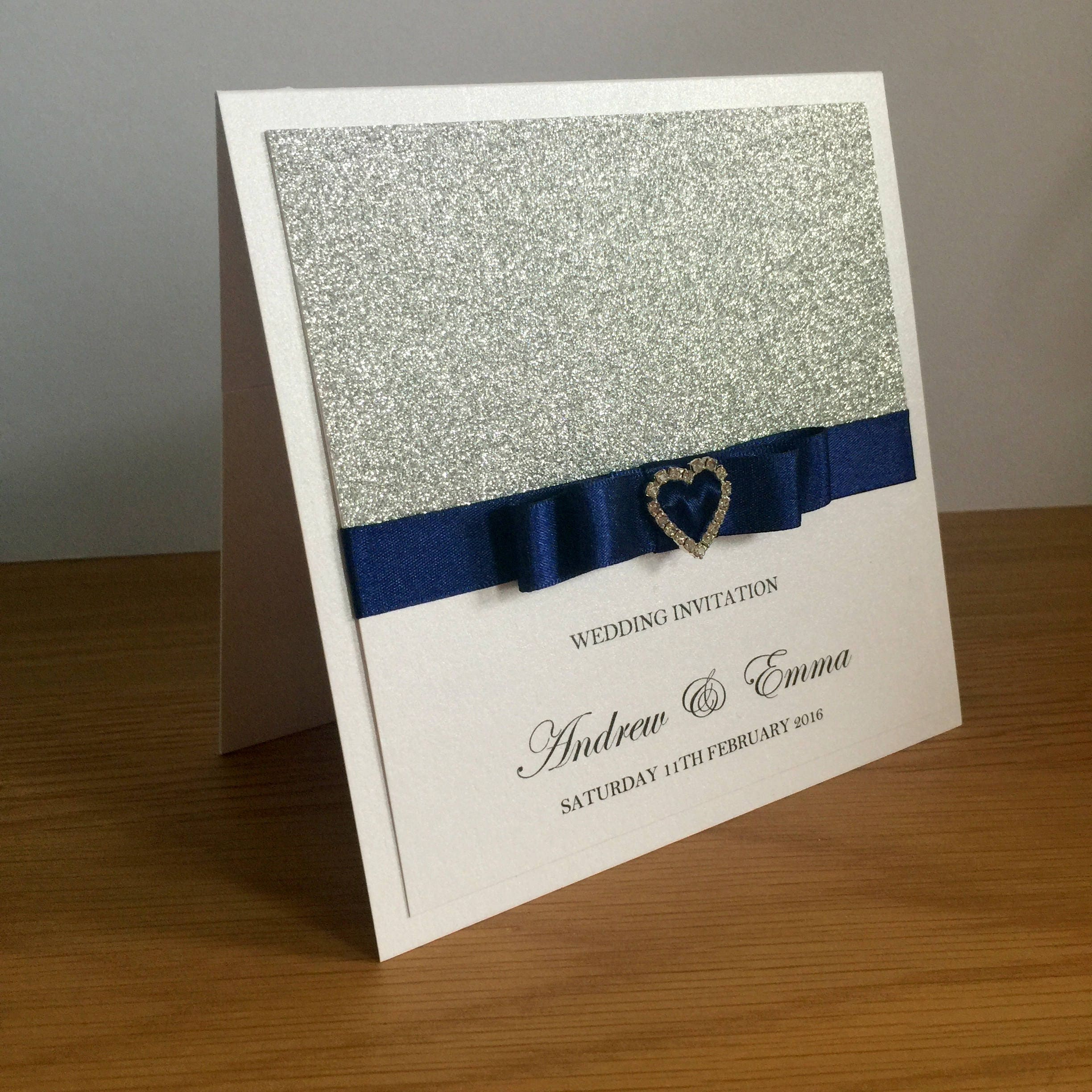 Silver Glitter Wedding Invitation Pocket Wedding Invitation Diamante Heart Buckle Luxury Wedding Invitation GlamourSparkle
