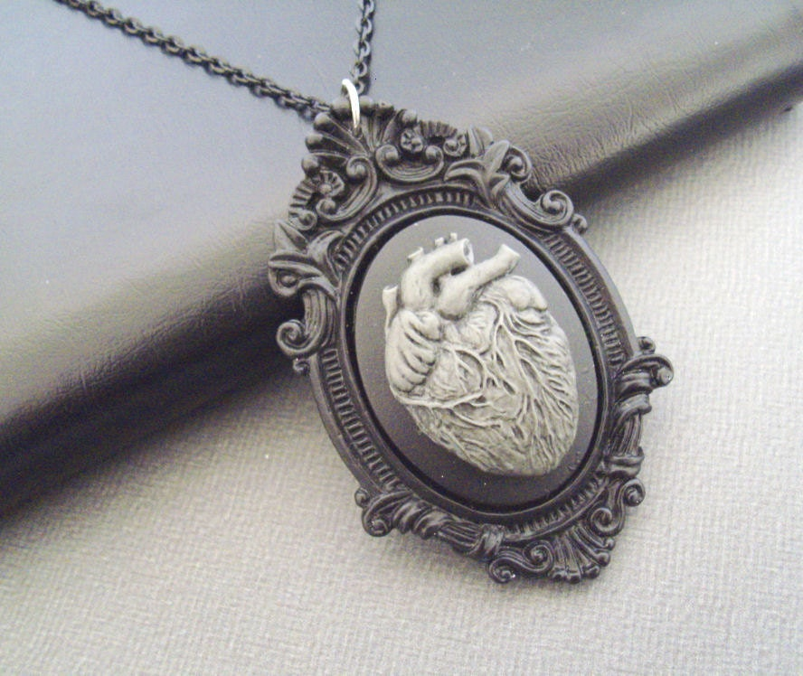 a vampires heart black and grey cameo necklace