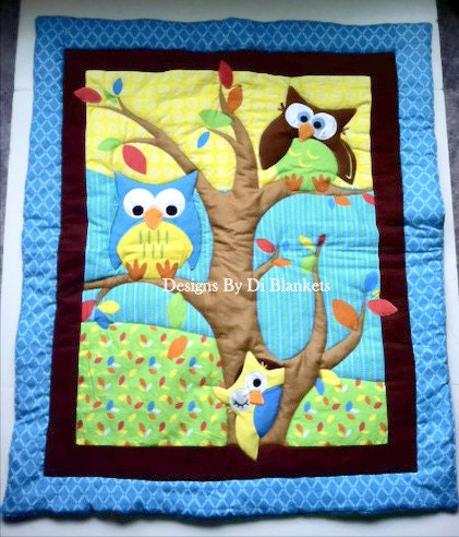Owl Baby Blanket Quilt Owls In Tree And By DesignsByDiBlankets