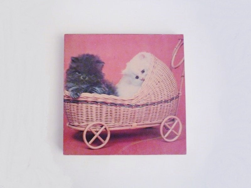 Vintage Kittens in a Basket Picture Wall Hanging - oppning