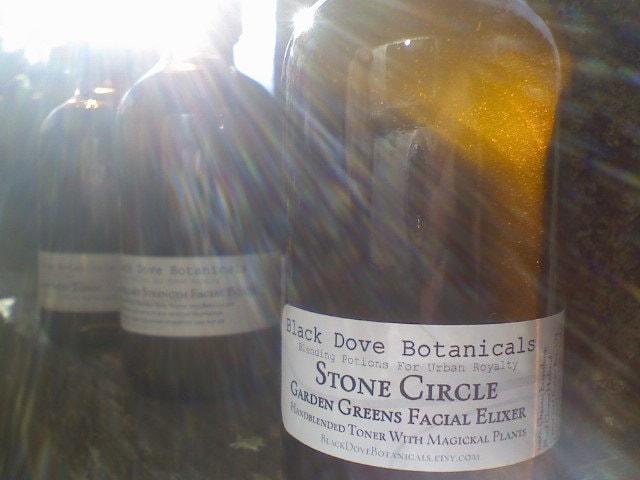 Stone Circle...Garden Greens Organic Facial Elixer - BlackDoveBotanicals