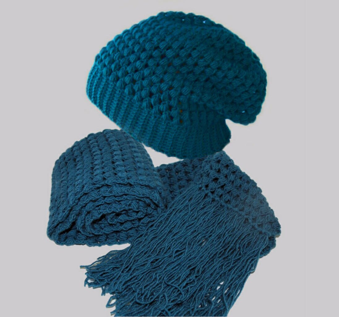 Crochet Pattern Hat Scarf Combo : Items similar to Petrol Crochet slouchy hat and scarf ...
