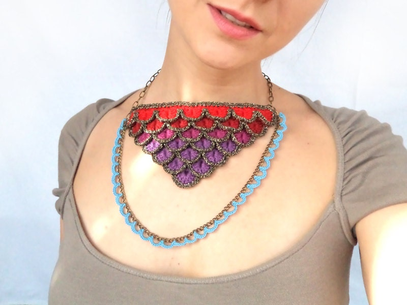 Crocodile stich, crochet bib necklace in purple and red shades with blue lace chain - bibatron