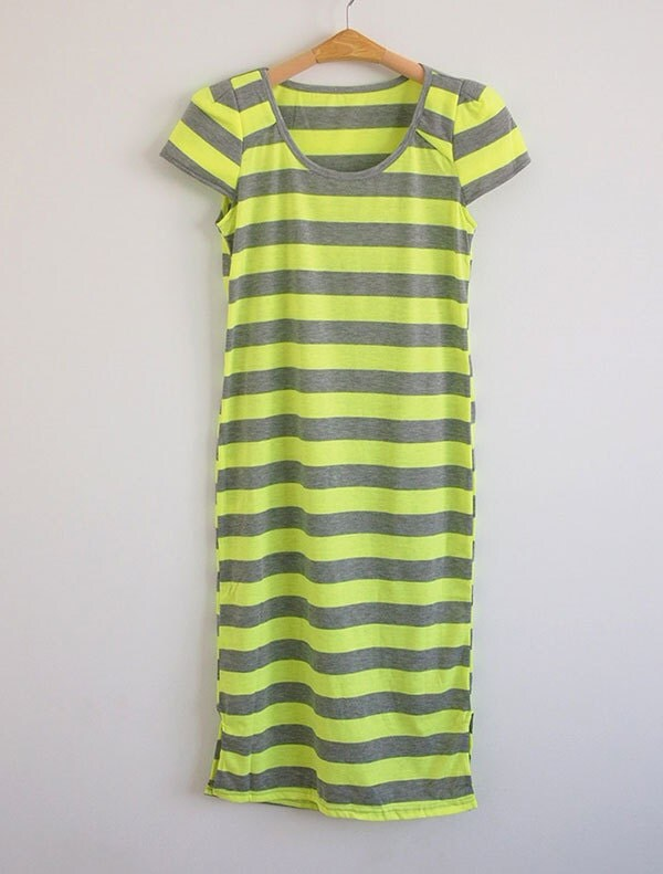 Items similar to medium arrowhead dress neon colors on etsy for Bright green t shirt dress
