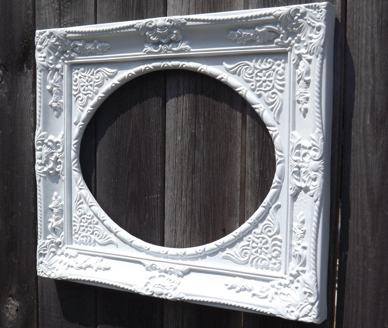 large white picture frame oval vintage ornate by frameitbyjill. Black Bedroom Furniture Sets. Home Design Ideas