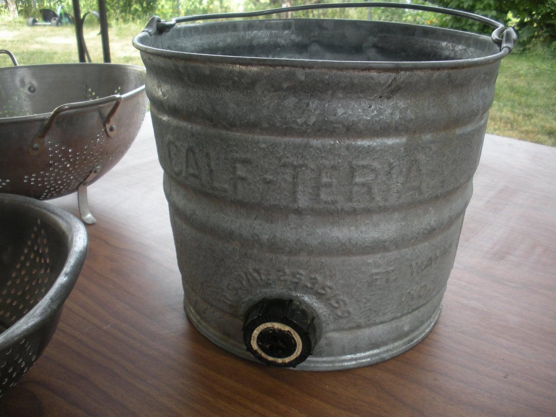 Antique galvanized milk bucket calf teria by for Galvanized well bucket