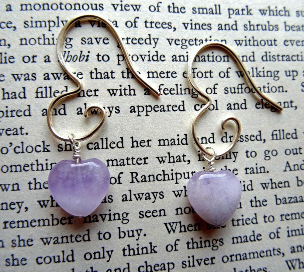 Amethyst heart earrings  Amethyst earrings  lavender wedding  6th anniversary gift  lavender bridesmaid earrings  February birthstone