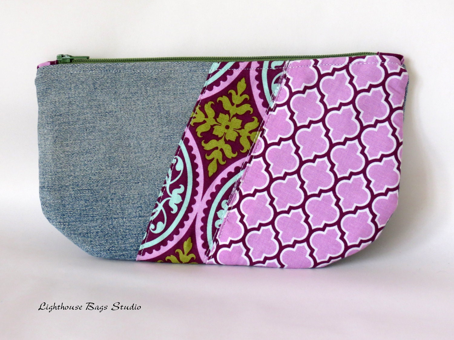 Recycled Jeans Zipper Pouch - Purple Flavor - Lighthousebags