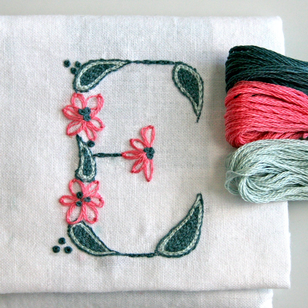 DIY pdf Crewel Embroidery Pattern Monogram E instant download teal  ring bearer pillow christening gown - PrairieGarden