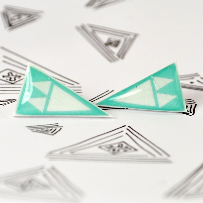 Seafoam Mini Arrowhead Post Earrings - Hypoallergenic Surgical Stainless Steel Posts