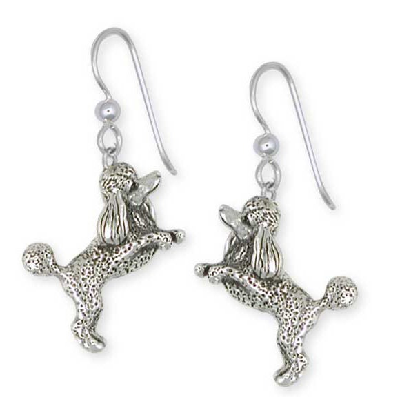solid sterling silver poodle earrings jewelry by efsterling