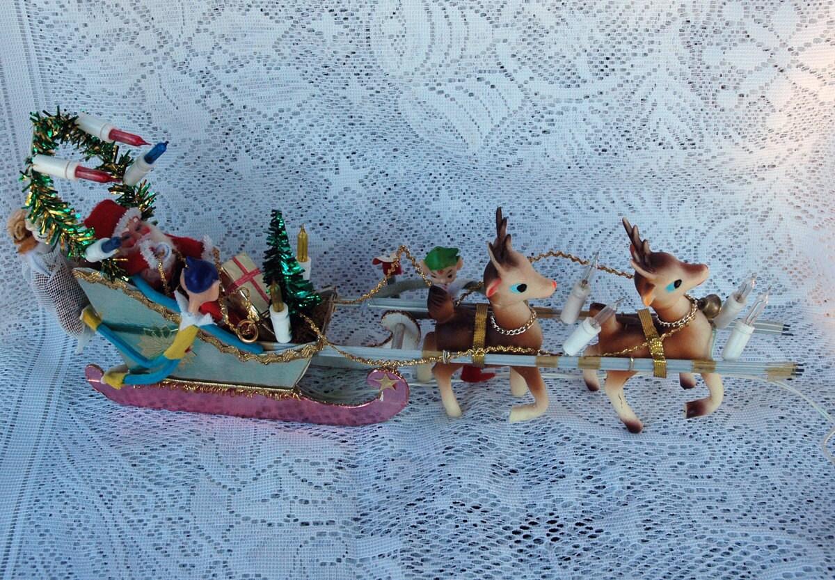 Santa Sleigh and Reindeer Display Light Up by ...