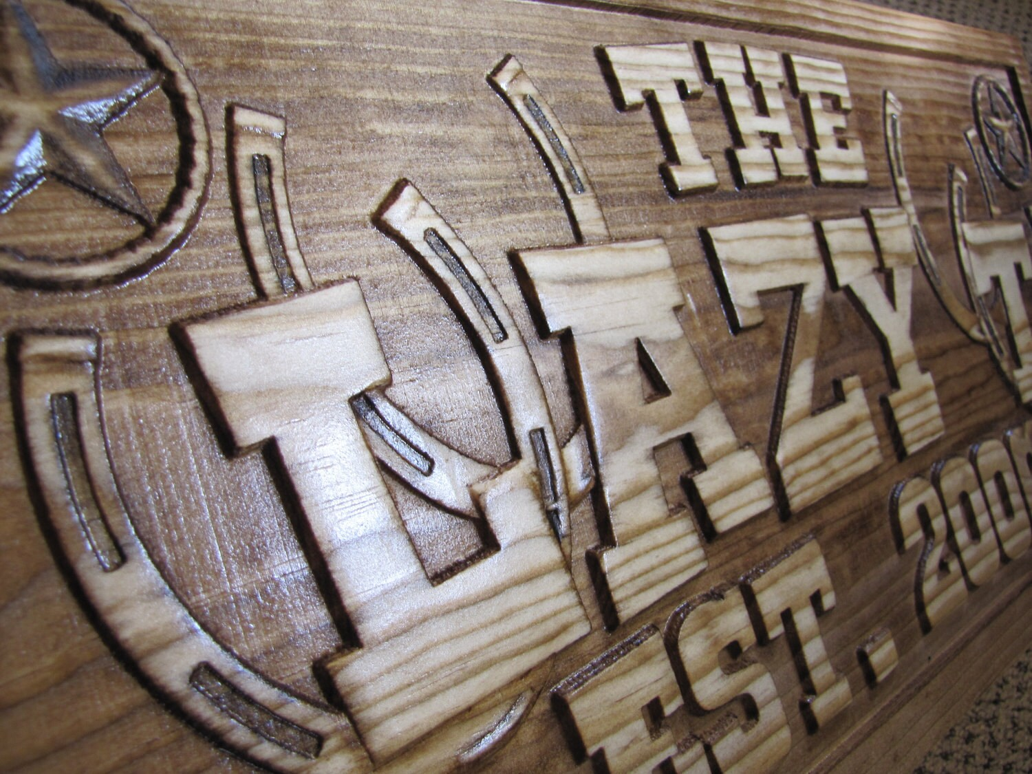 Personalized family last name sign custom carved wood