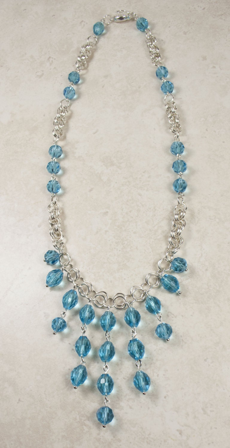 Hallmarked Sterling Silver Chain Maille and Aqua Blue Glass Crystal Necklace - WovenArtJewellery