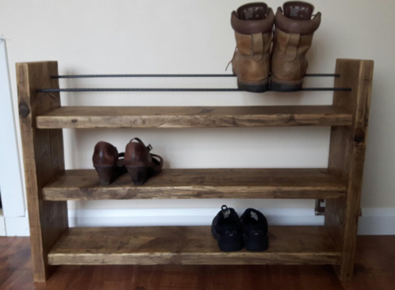 Shoe Rack Rustic Shoe Rack Wood Shoe Rack Handmade Shoe Rack Wood and Steel Shoe Storage