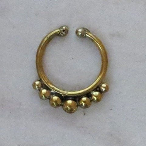 unique brass septum for non pierced nose jewelry by