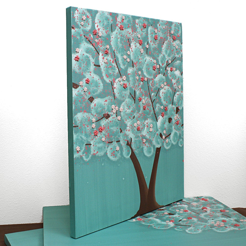 girls bedroom decor tree painting on canvas textured art triptych