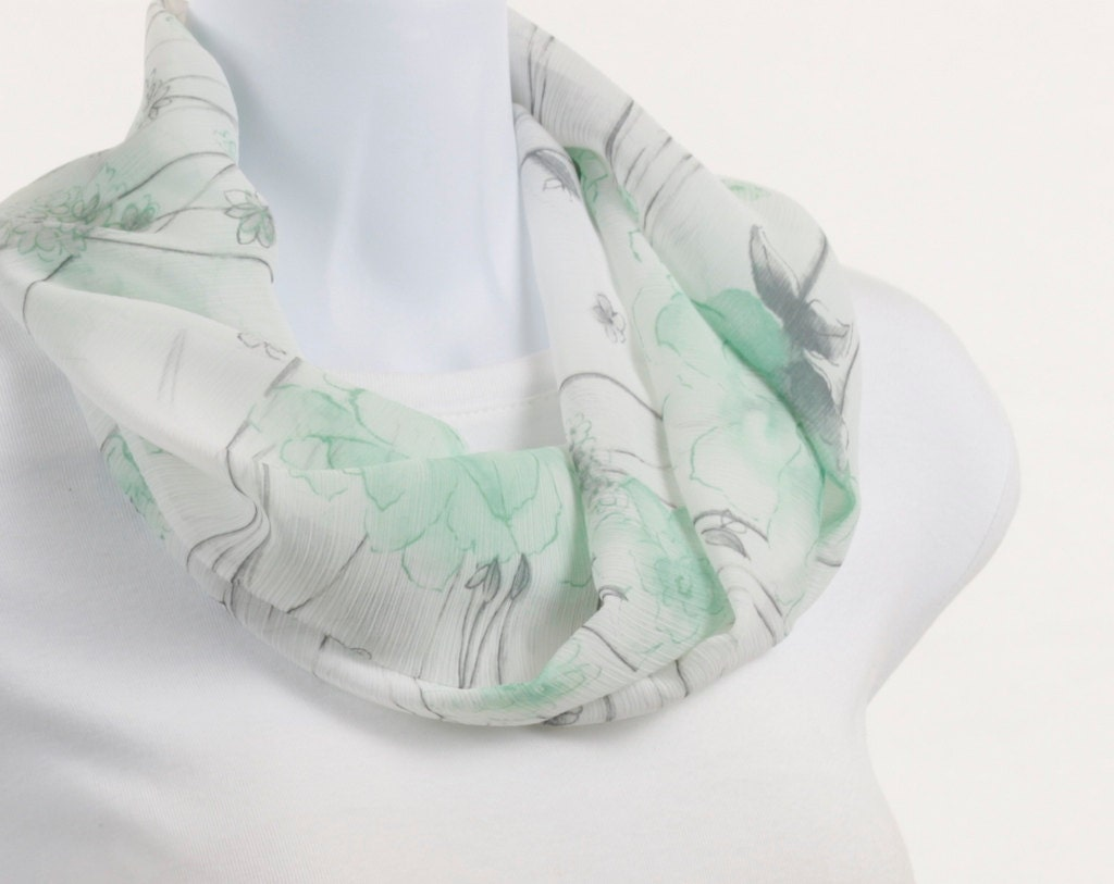 Crepe White, Gray and Mint Green short Floral INFINITY scarf by neckstyles - neckStyles