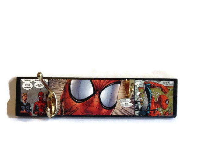 Spiderman Coat Pegs hand painted reclaimed wall decor Hanging storage