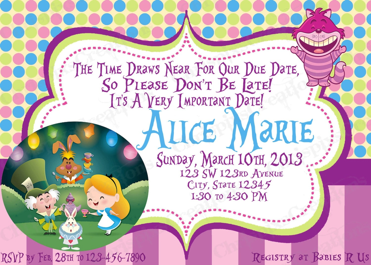 alice in wonderland baby shower invitation by chrispixscreations