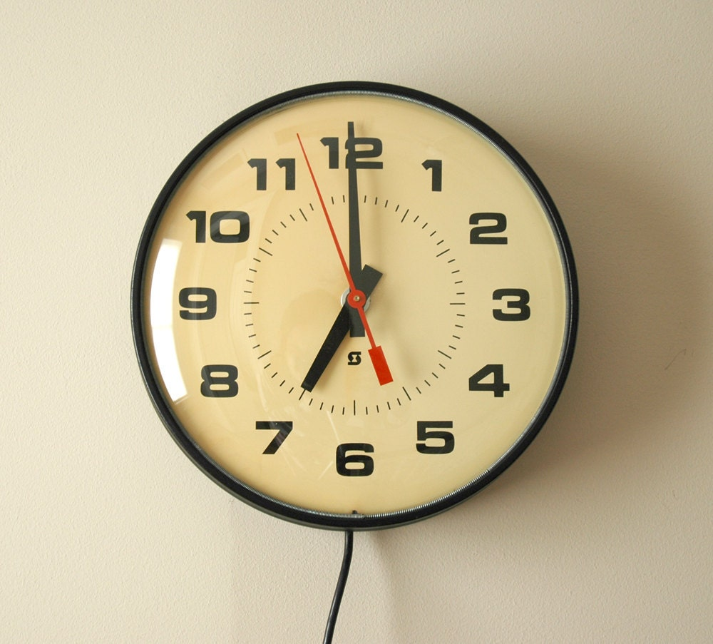 Vintage Industrial School Wall Clock Electric By By