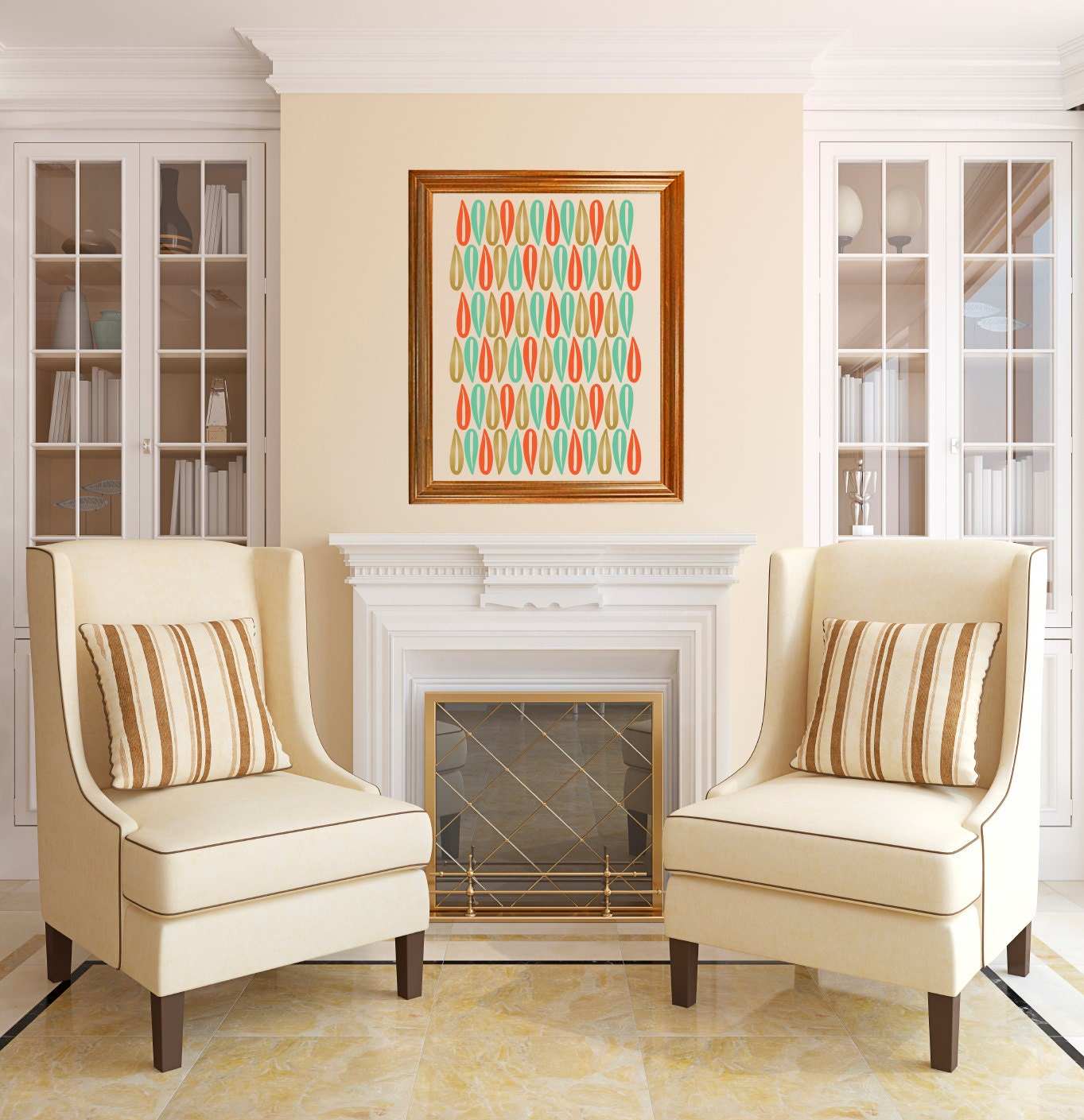 items similar to mid century modern art mod petals wall. Black Bedroom Furniture Sets. Home Design Ideas