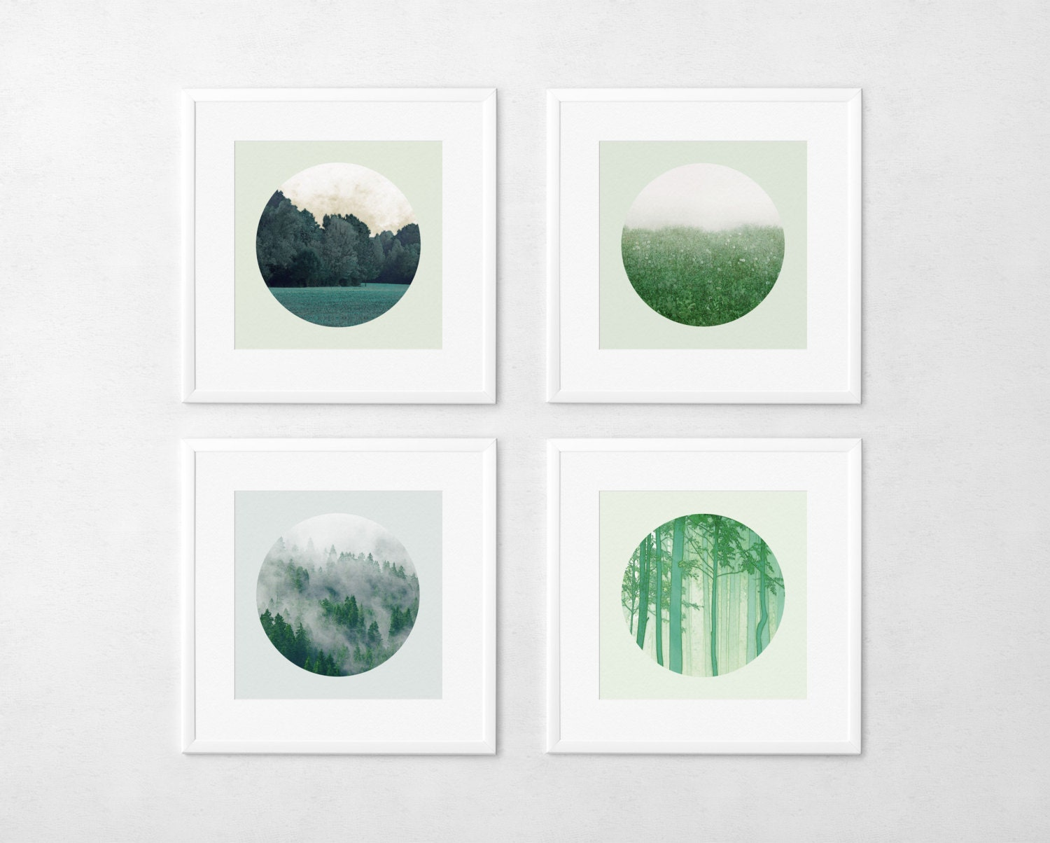 12x12 Landscape Photo Set Woodland photography Nature Forest Field Minimal Emerald Green Circular photo - MOONGARDENART