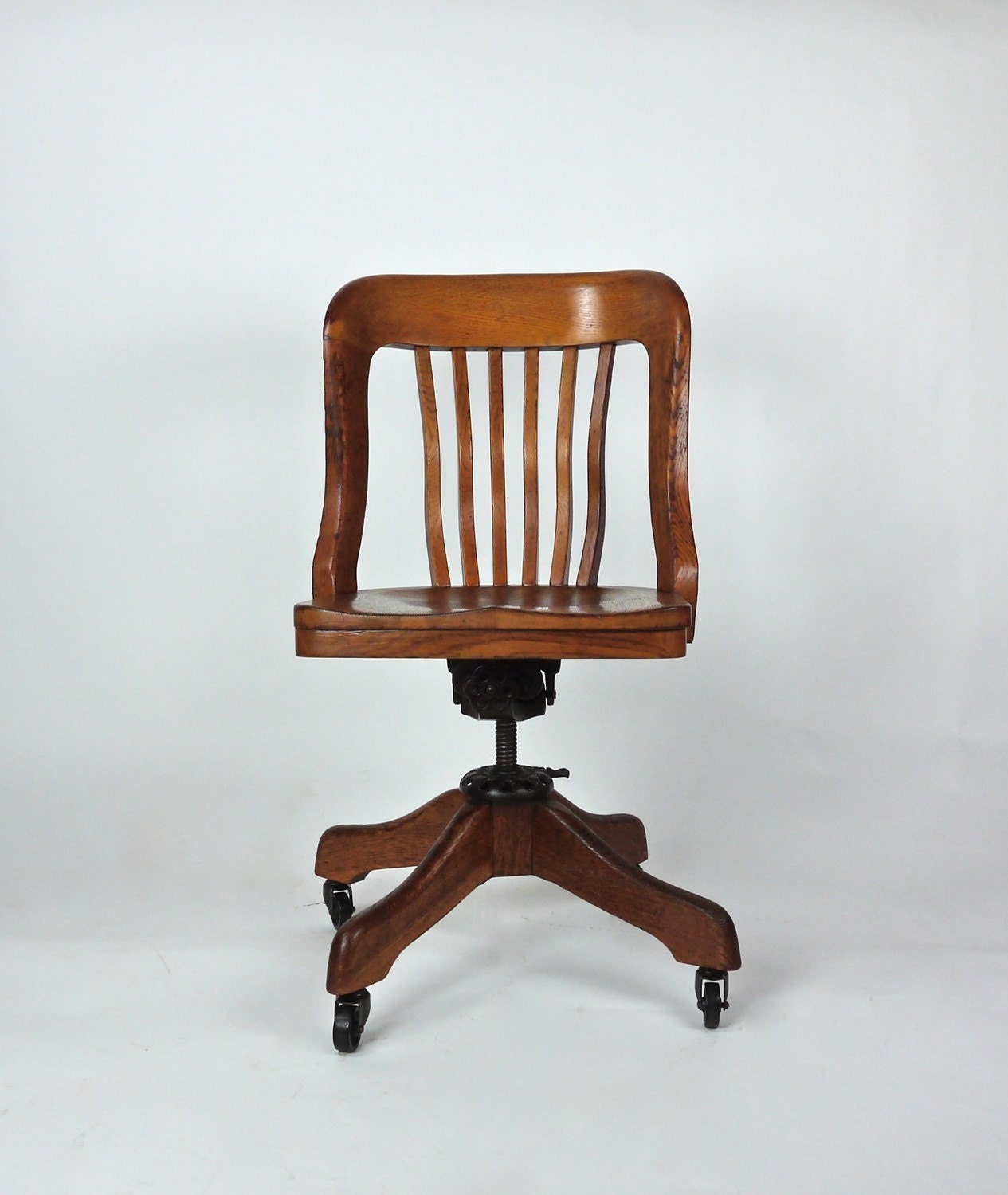Antique Milwaukee Chair Co Oak Deco Desk Office Library Swivel Chair