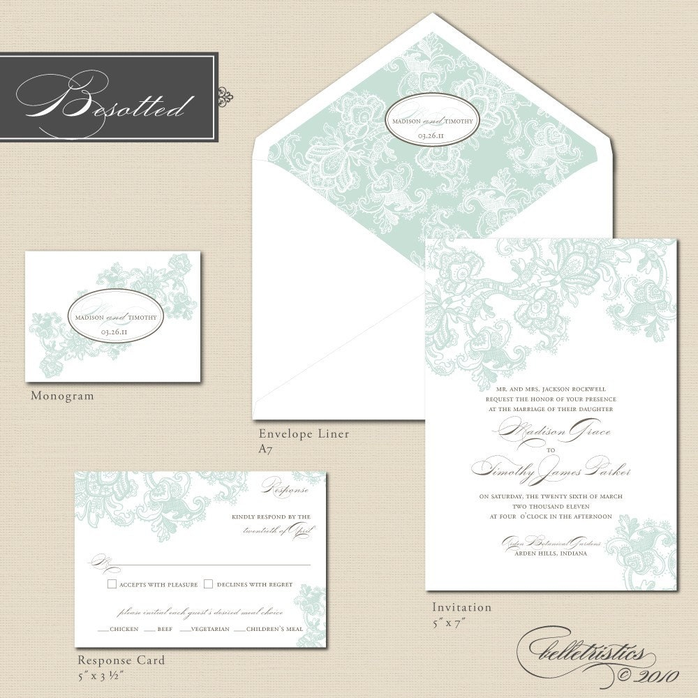Printable Wedding Invitation Package Besotted By CharmPrintables