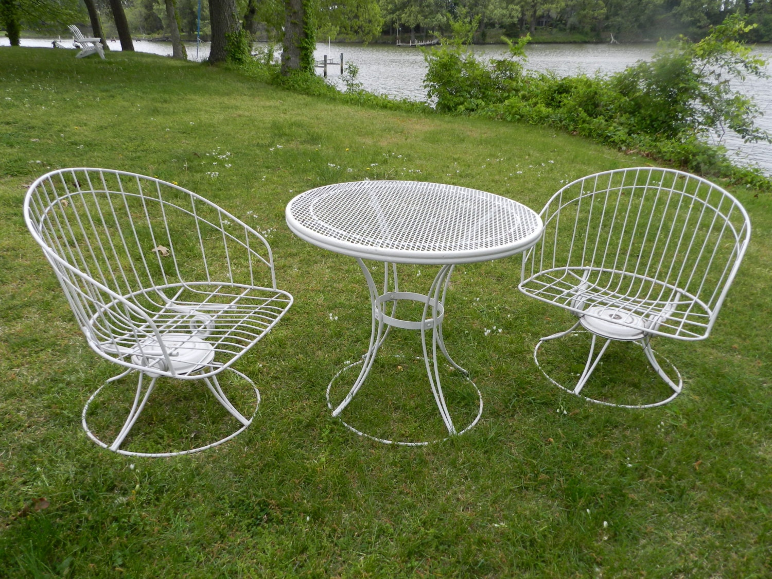 HOMECREST 3 pieces, Pair Mid Century Outdoor Tub Chairs and Cafe Table