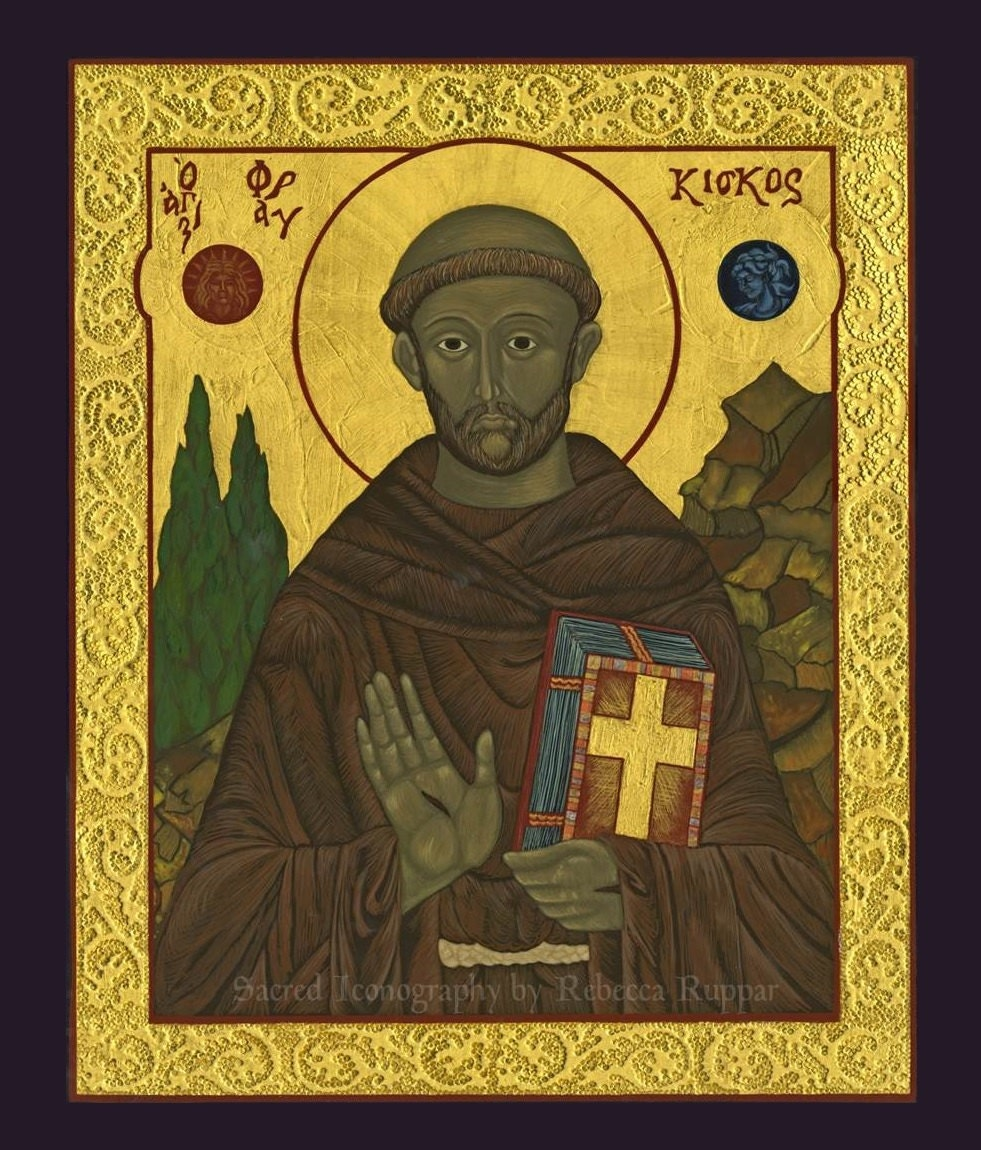 items similar to st francis of assisi icon print on etsy