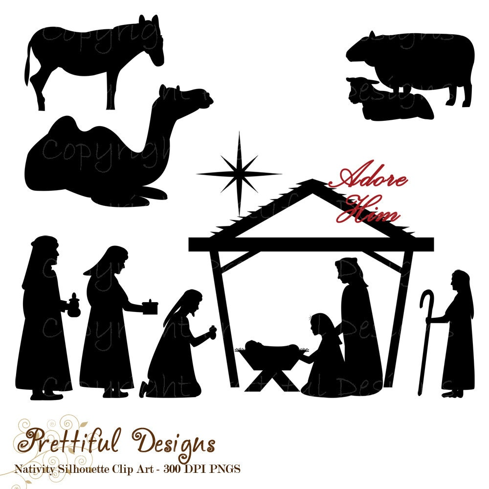 Buy 3 get 3 FREE SALE Christmas Nativity by PrettifulDesigns