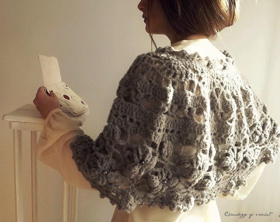 Lacy Capelet Crochet Beige Brooch Satin Ribbon - ChronologyOfCrochet