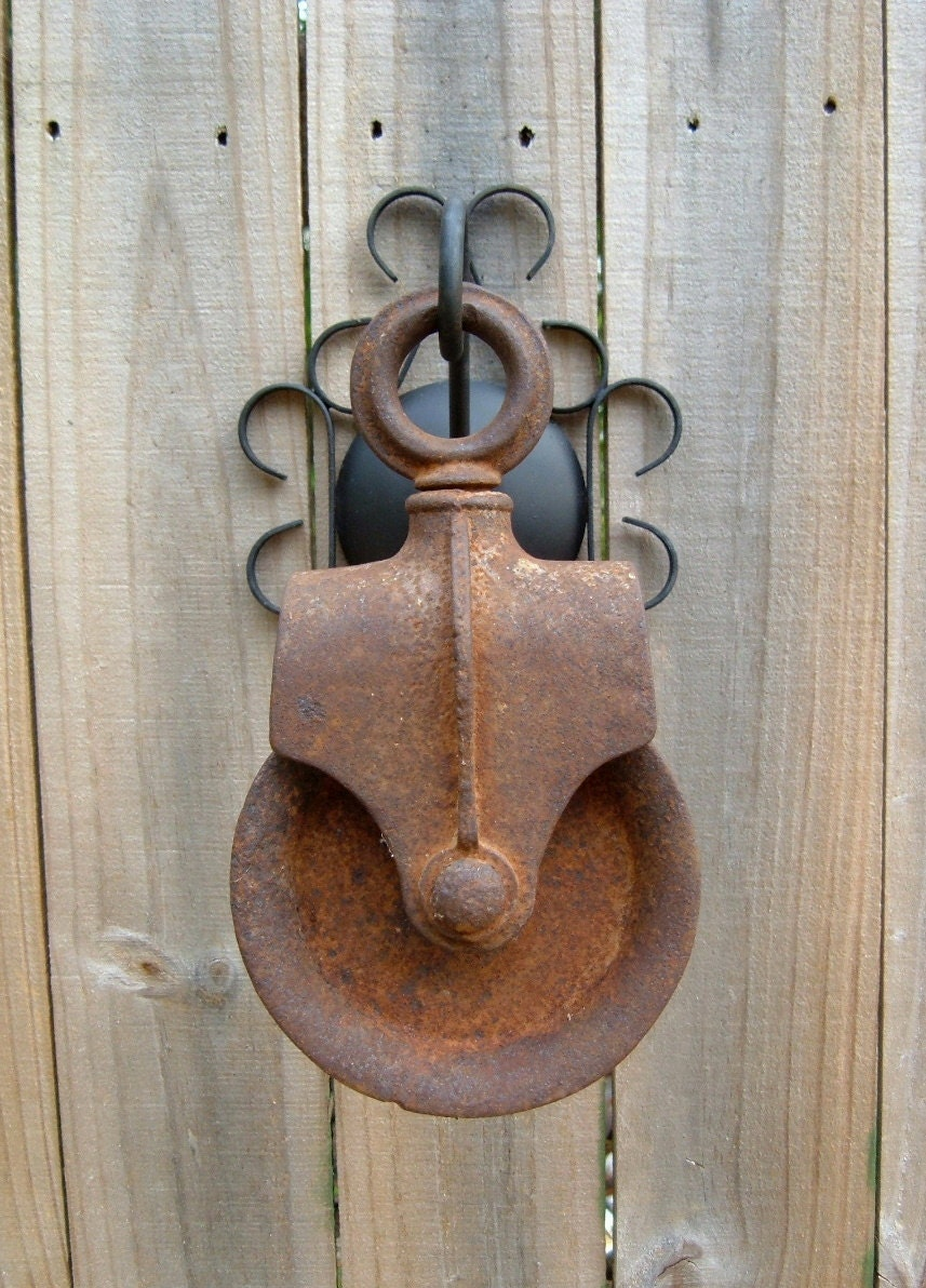 Pulleys Antique Looking : Vintage well pulley home or garden decor by froglevelfarm