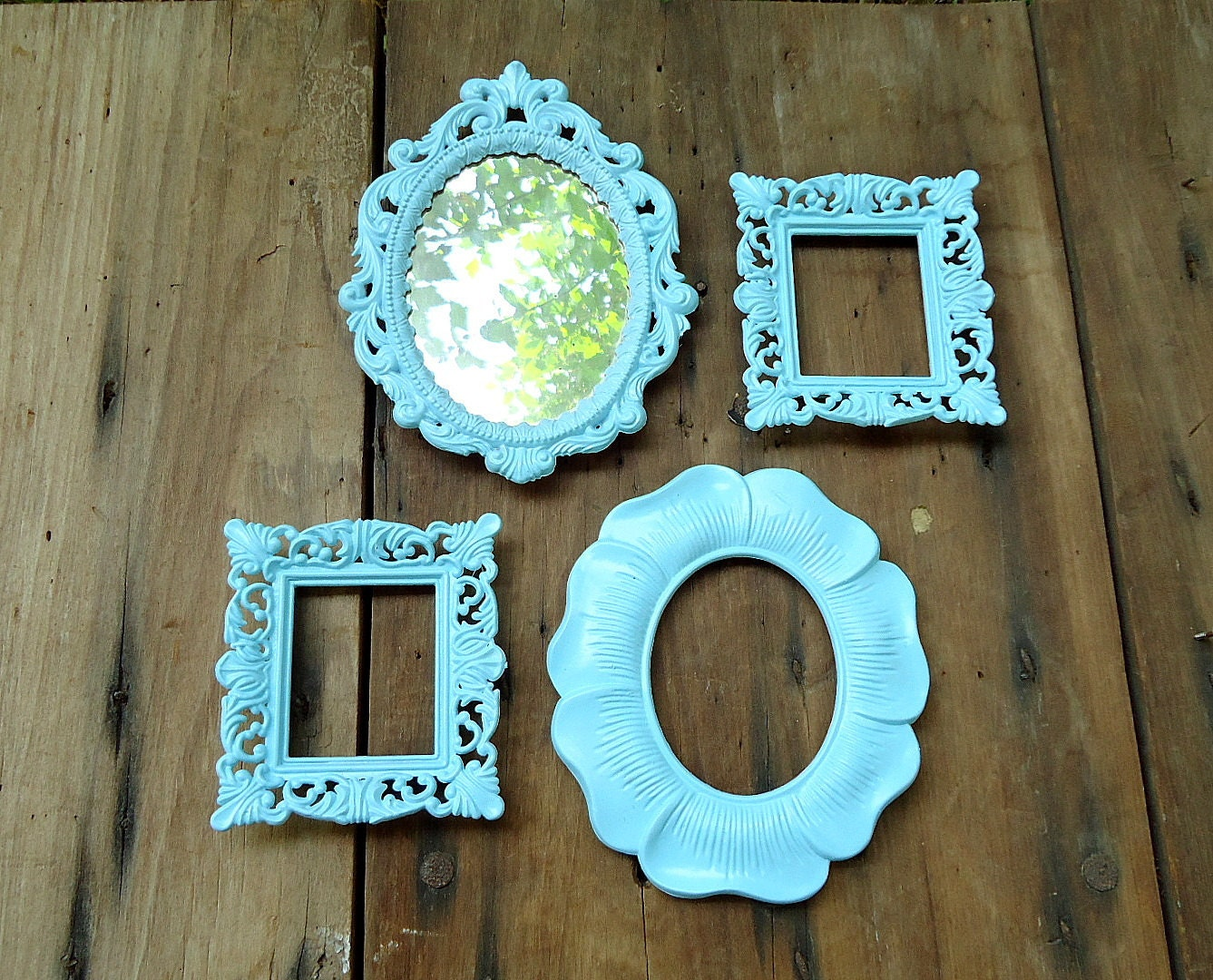vintage ornate frames mirror small mini by thesquirrelcottage. Black Bedroom Furniture Sets. Home Design Ideas