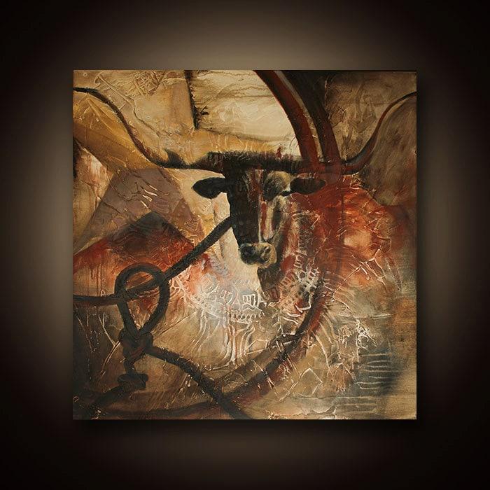 Original art Acrylic Paintingon canvas, longhorn Texas star 36X36X1 - RedWhiteNBlue