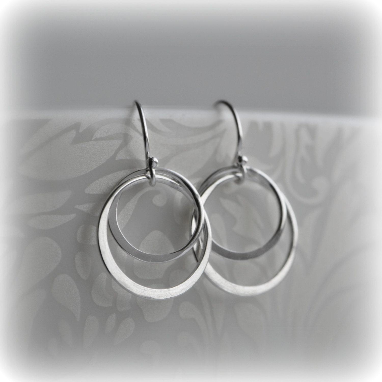 Double Hoop Earrings Silver Hoop Earrings Sterling Silver Circle Earrings Silver Circle Earrings Gift for Her Bridesmaid Gift Blissaria