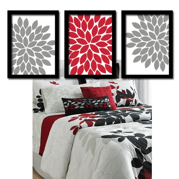 Red gray wall art bedroom wall art canvas or prints by for Red black and white bathroom decor
