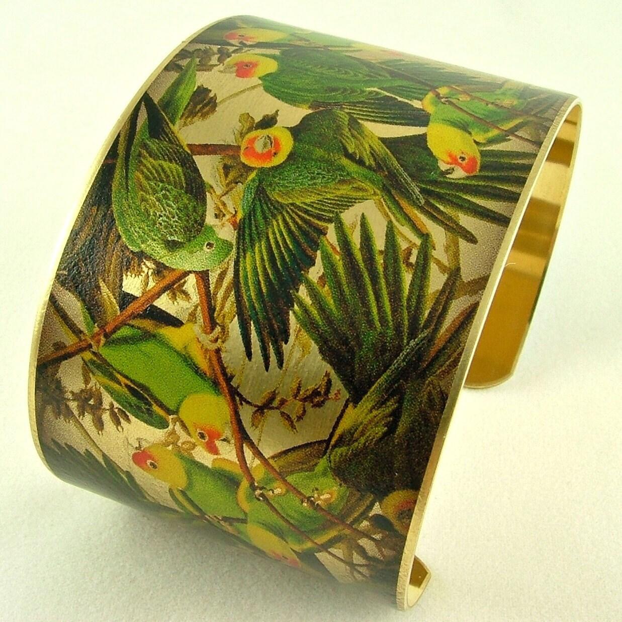 Audubon's Parrot Bird Brass Cuff Bracelet - Ornithology The Extinct Carolina Parakeet - Black Friday Etsy Cyber Monday Etsy