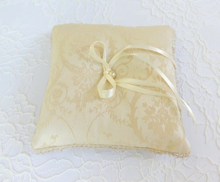 Ring Bearer Wedding Ring Pillow Ivory Color By MissLaceWedding