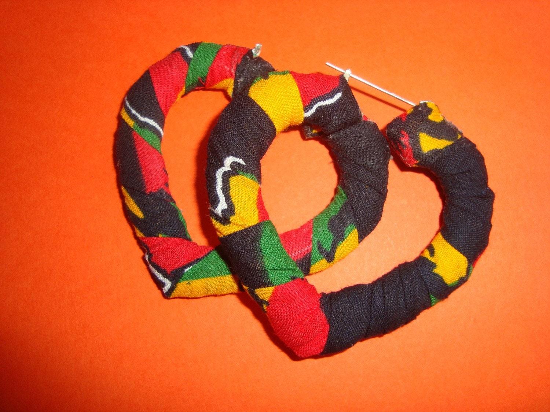 Small 'Love Afrika' bamboo heart earrings
