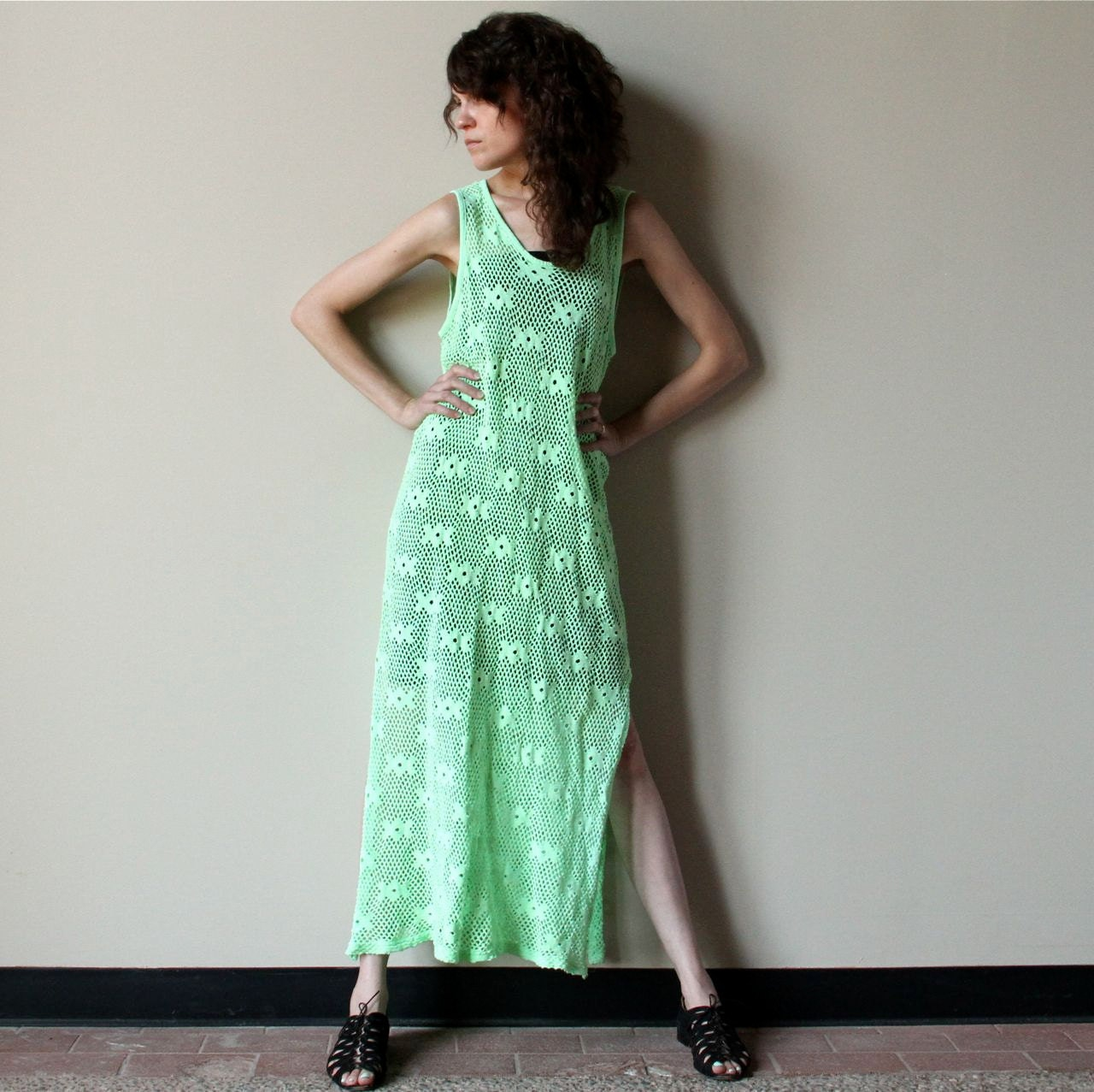 Neon lime green mesh maxi dress vintage sheer by for Bright green t shirt dress