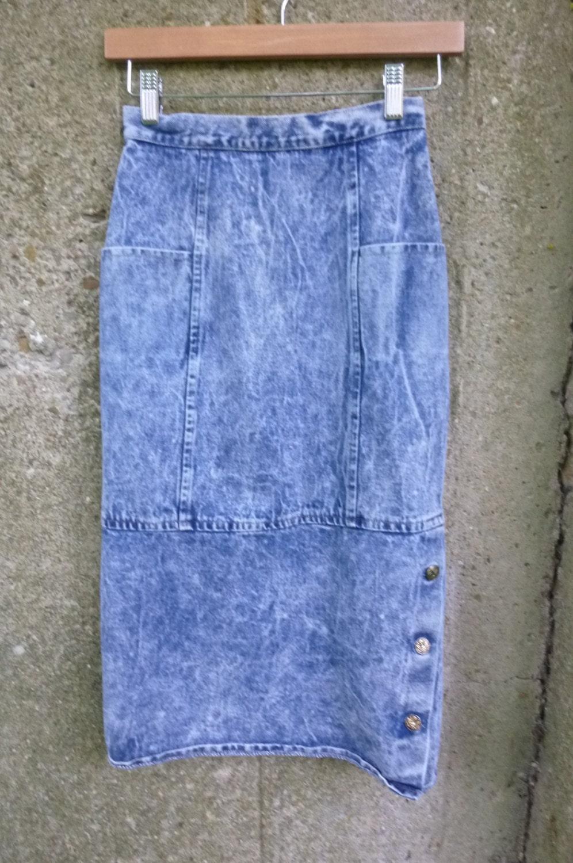 acid wash denim pencil wiggle skirt high waist size by